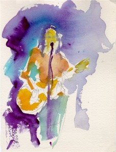 blues singer watercolor