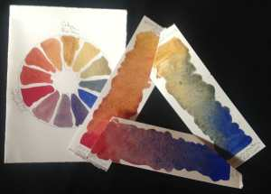 Raw Sienna, Cadmium Red Deep and Ultramarine Blue